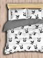 Eponj Home Kolay Ütülenir Nevresim Takımı Çift Kişilik B&W Panda Siyah